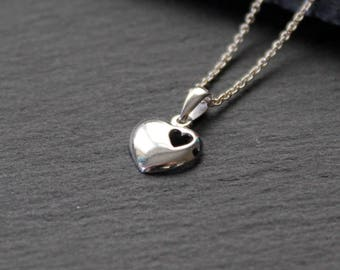 Sterling silver heart necklace. Valentine's Day gift for her. Mother's day heart necklace. Silver heart necklace sister birthday gift.