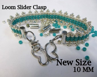 End Caps Slider Clasps, 1/4 Inch, Silver Color,  Loom Bead Patterns, Loom Findings, 18 Pack, Look Is Clean and Neat