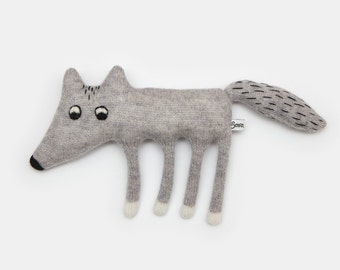 Walter the Wolf Knitted Lambswool Soft Toy Plush - Made to order