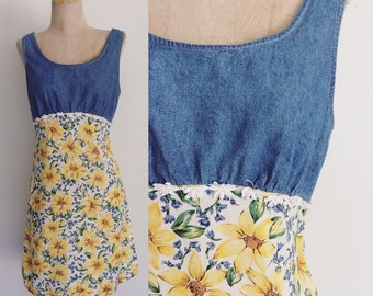 1990's Floral & Denim and Floral Print Mini Dress Size Medium Large by Maeberry Vintage