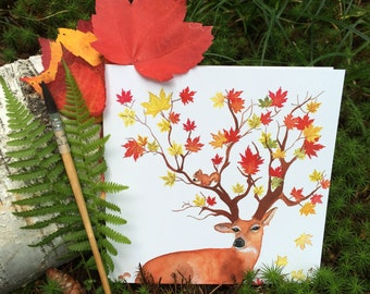 "2 greeting cards ""4 seasons - autumn"" handmade watercolor * 2 Greetings cards ""4 Seasons - fall"" handmade watercolor"