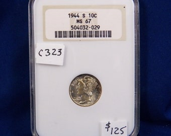 1944 S Mercury Silver  Dime, NGC MS67, Gem Uncirculated, Graded in Holder, American Coin, Silver,NGC, Certified