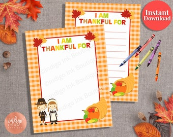 Thanksgiving Game Kids Printable Page INSTANT DOWNLOAD | Kids Activity Page |Thankful For Page | Kids Game | Thanksgiving Fun Activity Sheet