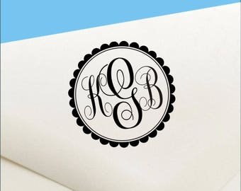 Pre Inked Monogram Stamp  - Pre Inked Round Monogram Stamp - Self Inking Monogram Round Stamp - Self Inking Personalized Monogram  Stamp