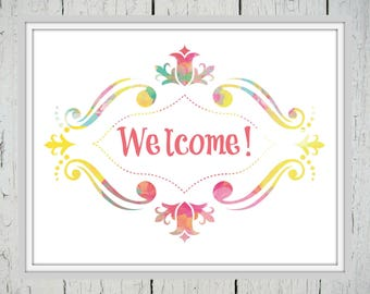 Welcome Sign - Colorful Welcome Sign, Colorful Wall Art, Welcome Print, Welcome Printable, Spring Printable, Spring Decor, Spring Home Decor
