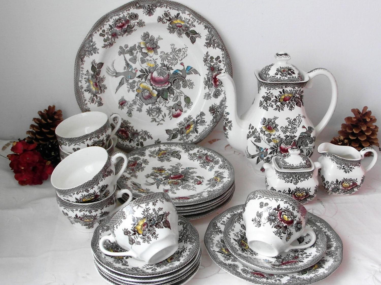 kaffee service oriental pheasant enoch wedgwood 6 personen. Black Bedroom Furniture Sets. Home Design Ideas