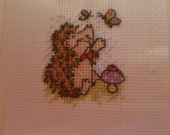 Cross Stitch Card Hedgehog and Butterfly Finished