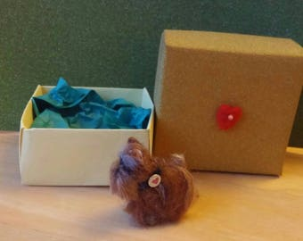 Needle Felted Little Yorkshire Terrier Dog Ooak with Gold Glitter Gift Box