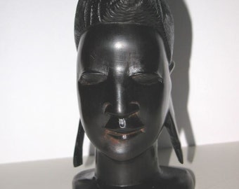 Vintage African Tribal Hand Carved Ebony Woman's Head