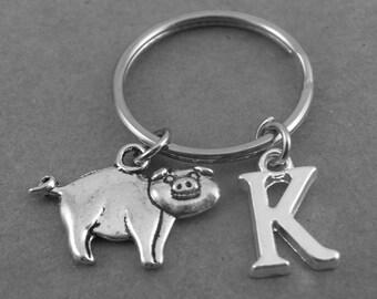 Personalised Pig Keyring Keychain