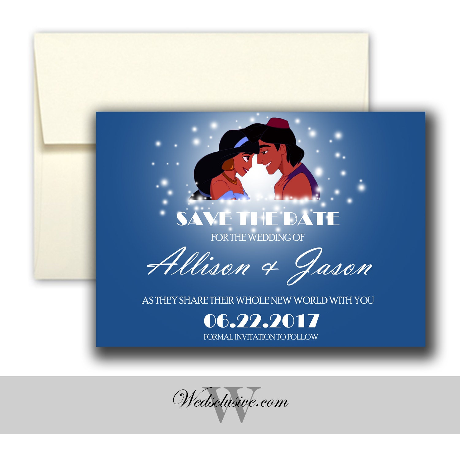 Aladdin and jasmine save the date disney weddings fairytale zoom stopboris Gallery