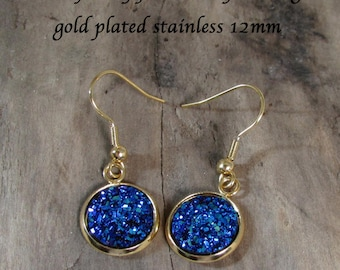 Blue Metallic 2 Sparkly Faux Druzy Earrings Jewelry- Quality Gold or Silver Stainless Dangle Drop Style - Very Sparkly - Dangle Earrings