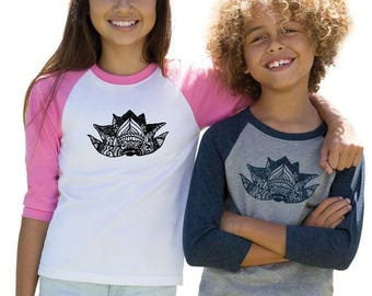 Lotus Shirt for Kids, Youth Baseball Tee, Lotus Flower Raglan Shirt For Children, Gift For Girls, Gifts for Boys, Yoga Shirt, Namaste Tshirt