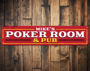 Poker Room & Pub Sign, Personalized Name Man Cave Sign, Metal Man Cave Decor, Poker Lover Sign, Poker Sign - Quality Aluminum ENS1001401