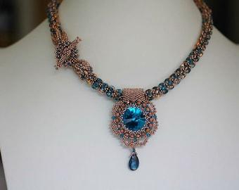 Aqua Blue Crystal Necklace, Beaded Rivoli, SuperDuo Rope, London Topaz Necklace,