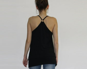 Black open back top, Tank top, Yoga top, Straps top, Black tank top, Layer top, Casual top, Plus size top