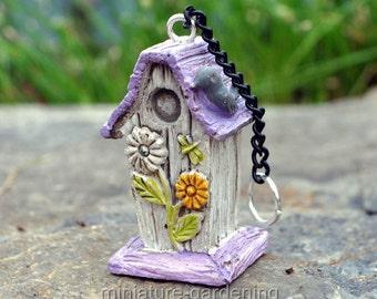 Daisy Bird House with Chain for Miniature Garden, Fairy Garden