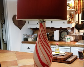 MASSIVE Red and White Lamp with VERY Large Shade