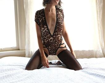 Bodysuit - sheer lingerie - lingerie - bodysuit women - bodysuit lingerie - leopard print - underwear - bodysuits - romper - onesie - sheer