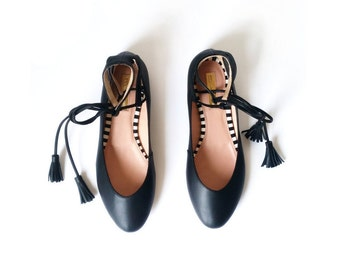 Leather BLACK BALLET Flats  - Black Leather Ballerinas - Genuine Leather - Mina Shoes Mexico - Style Name: NeoMerlina - Mina Calzado