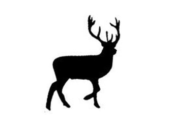 mini Buck Deer Silhouette Rubber Stamp