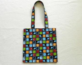 Social media book bag - Shopping bag - Tote bag - Lined fabric bag - Library bag - Book tote -  Computer icons book bag - Black fabric bag