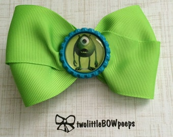Mike from Monsters Inc Bottle Cap Hair Bow