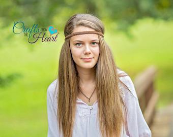 Brown Boho Headband - Boho Headband - Brown Headband - Forehead Headband - Hippie Headband - Halo Headband - Bohemian - Festival - Headbands