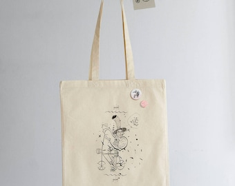 Mad Hatter, Hand Printed on Cotton Bag, Funny Vintage Bike, Screen printing, Shopping Bag, Pin Badge