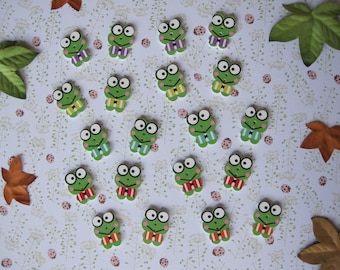 """Set of 4 wooden """"funny frog"""" buttons"""