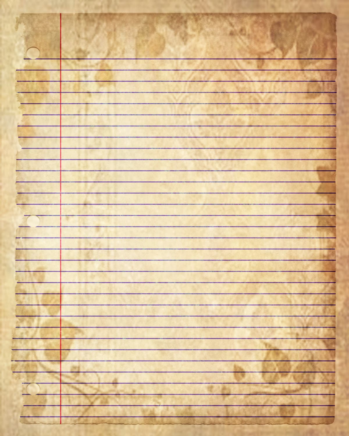 printable journal page sepia leaves lined digital stationery