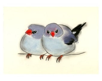 "Blue Bird art - Two Friends  11.7"" X 8.3"" bird print of water-colour painting - 4 for 3 SALE"