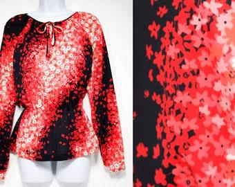 7 Dollar Sale---Vintage 70's SYBIL Black Red  & White Floral Polyester Shirt M