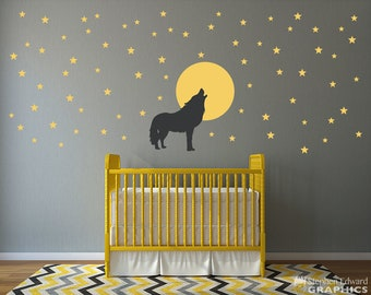 Wolf howling at the Moon with Stars Wall Decal Set - 74 Star Decals - Moon Wall sticker - Wolf Decor - Nursery Wall Decal Set