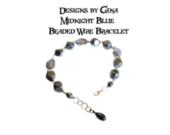 Midnight Blue Beaded Silver Tone Wire Bracelet DG0031B1 Handmade Handcrafted Original Designs by Gina