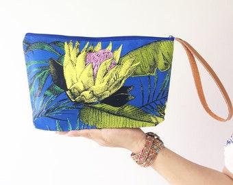 Blue Handbags Clutch Bag Wrist let Toiletry Bag Cosmetic Bag Clutch Purse Hipster Bag Hippie Boho Summer Hobo Yoga Makeup organizer