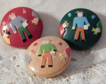 Wood Buttons with People - 3