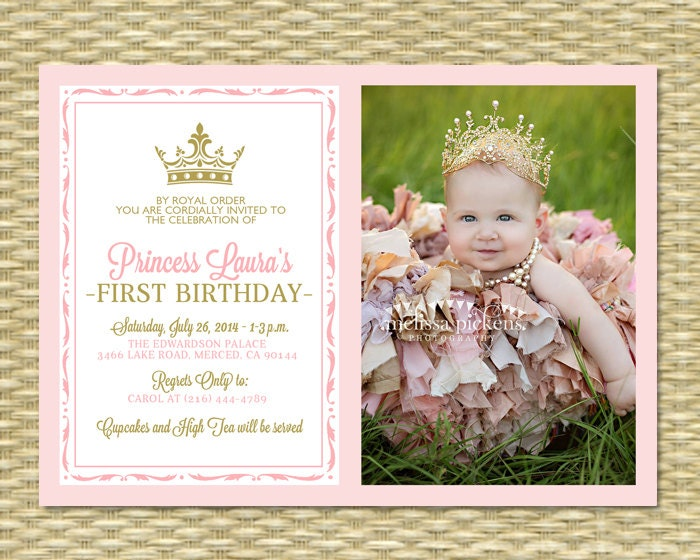 Pink And Gold Princess First Birthday Invitation Photo Card - Royal birthday invitation template