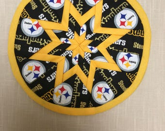 Steelers Quilted Hot Pad or Trivet, Folded Star