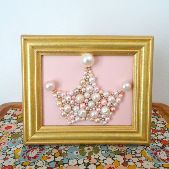 Pearl Princess Crown Pink and Gold Nursery Art Bead