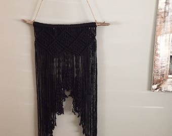 Black macramé wall hanging