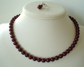 Single Strand Bordeaux Swarovski Pearl Beaded Necklace and Earring Set    Great Brides or Bridesmaid Gifts