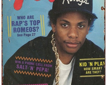 Yo! Hip-Hop Magazine Vintage Eazy-E Cover Reproduction Metal Sign 8 x 12