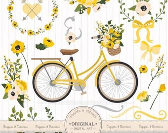 Premium Wedding Clipart & Vectors - Yellow Bicycle Clipart, Wedding Bicycle, Bicycle and Flowers, Vintage Bicycle Clip Art