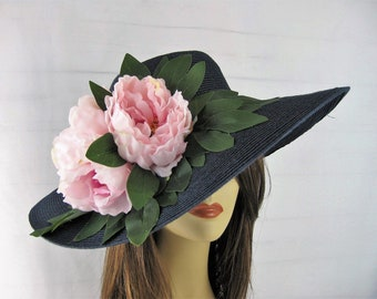 Navy Pink Romantic Peony Flowers Kentucky Derby Church Dressy Straw Hat