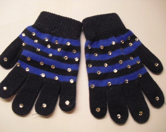 New! Beautiful Winter sports Hand-Stoned Gloves 1 pair (Navy Blue Striped) for Skaters, Children.