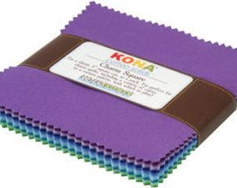 "Robert Kaufman 5"" squares Kona Cotton Solids Sunset Colorstory"
