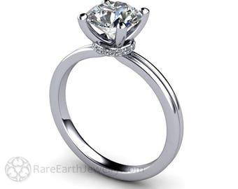 Moissanite Solitaire Engagement Ring Forever One Moissanite Engagement Ring Conflict Free Diamond Alternative 14K or Palladium