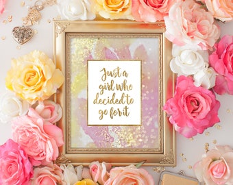 Girl Office Decor - Girl Dorm Decor - Home Office Decor - Girl Power Print - Digital Download - Inspirational Quote Printable - Quote Print
