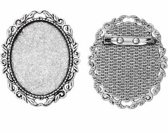 40x30mm cameo brooch setting Antique Silver Filigree Brooch Setting with Pin Back for mounting or frames for cabochons and gemstones 744x
